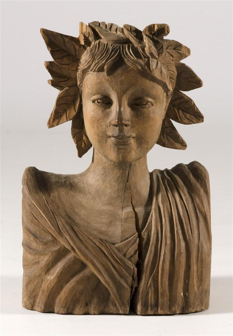 CARVED WOOD BUST OF A GRECIAN WOMAN Wearing a laurel leaf crown. Height 19