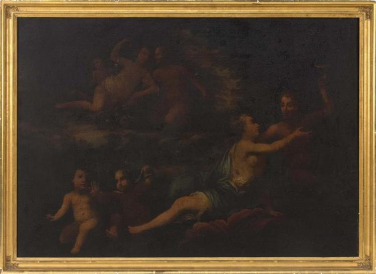 CONTINENTAL SCHOOL, 19th Century, Bacchus and Ariadne surrounded by cherubs., Oil on canvas, 30