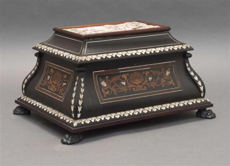 INLAID EBONY CASKET MOUNTED WITH A CAPO-DI-MONTE-STYLE PORCELAIN PLAQUE The plaque decorated with classical figures hunting wild boa...