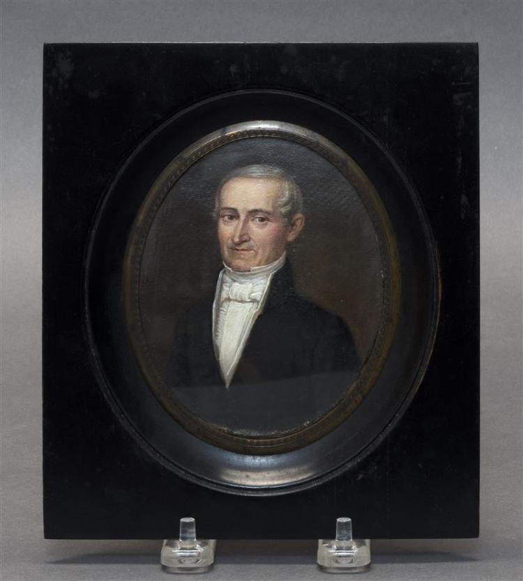 FRAMED MINIATURE PORTRAIT Half-length portrait of a gentleman. Oil, oval 4.25