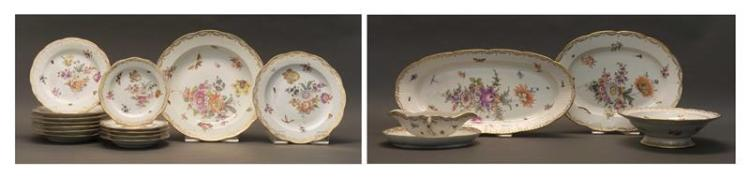 KPM PORCELAIN PARTIAL DINNER SERVICE With floral decoration on a white ground. Blue scepter mark. Consists of: 1 9.75