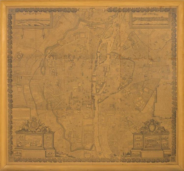 FRAMED MAP OF PARIS Reproduction of an 18th Century map. 52
