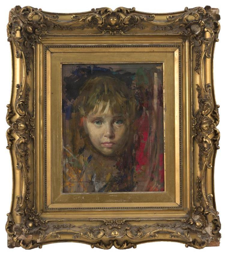 ATTRIBUTED TO LAJOS MARKOS, American, 1917-1993, Portrait of a young girl., Oil on masonite, 11.5