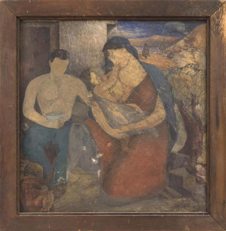 MEXICAN SCHOOL, Early 20th Century, Mother and child., Oil on board, 19