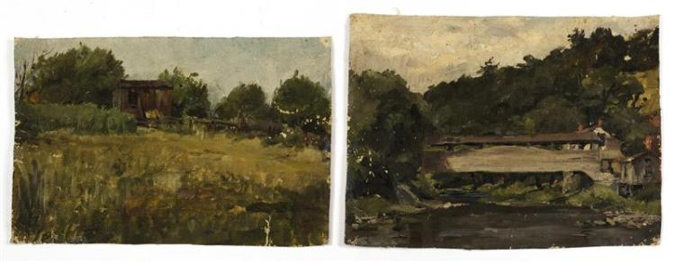 AMERICAN SCHOOL, Early 20th Century, Two landscape sketches., Oils on canvas, the largest 9