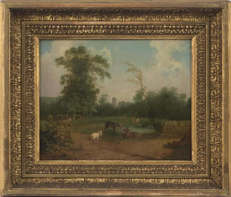 CONTINENTAL SCHOOL, 19th Century, Animals in a yard., Oil on canvas, 10
