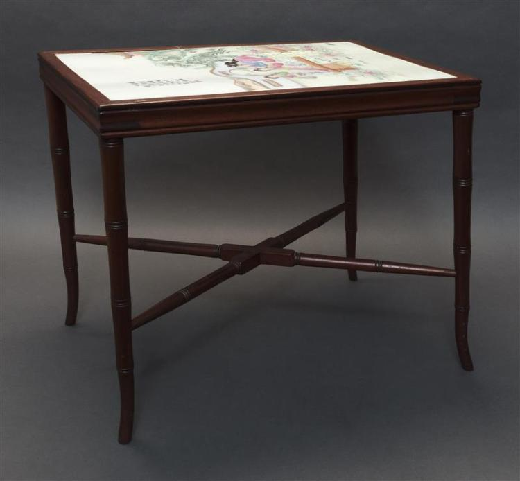 CHINESE CHIPPENDALE-STYLE END TABLE With inset porcelain tile top. Tiles decorated with traditional painting of noblewomen in a pala...