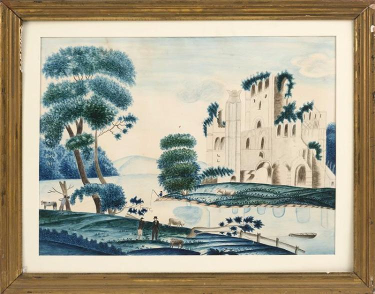 ENGLISH SCHOOL, 19th Century, A riverscape, Watercolor, 16