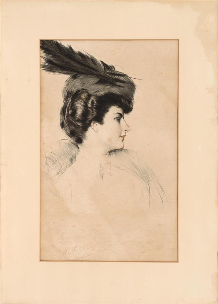 PAUL CÉSAR HELLEU, French, 1859-1927, Femme au chapeau., Color drypoint etching, 26.5