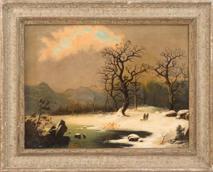 EUROPEAN SCHOOL, Early 20th Century, Two hunters in a winter landscape., Oil on canvas, 20.75
