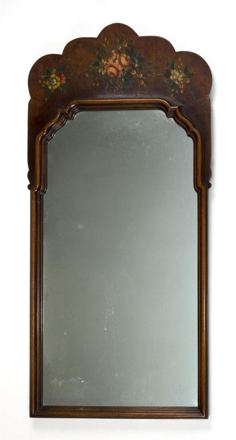 QUEEN ANNE-STYLE MIRROR In burled walnut veneer with painted floral-decorated crest. Height 41