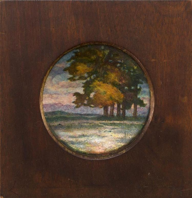 LIMOGES ENAMEL-ON-COPPER LANDSCAPE ROUNDEL BY PIERRE BONNARD Circular, depicting a stand of trees against a twilight sky. Signed