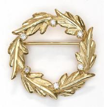 14KT YELLOW GOLD BROOCH Marked