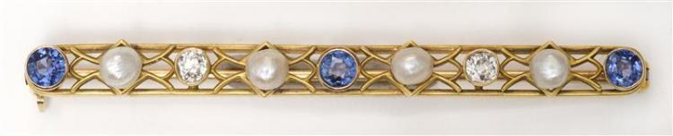 SAPPHIRE, DIAMOND, AND SEED PEARL BAR PIN With 14kt yellow gold mount. Length 5.72 cm.