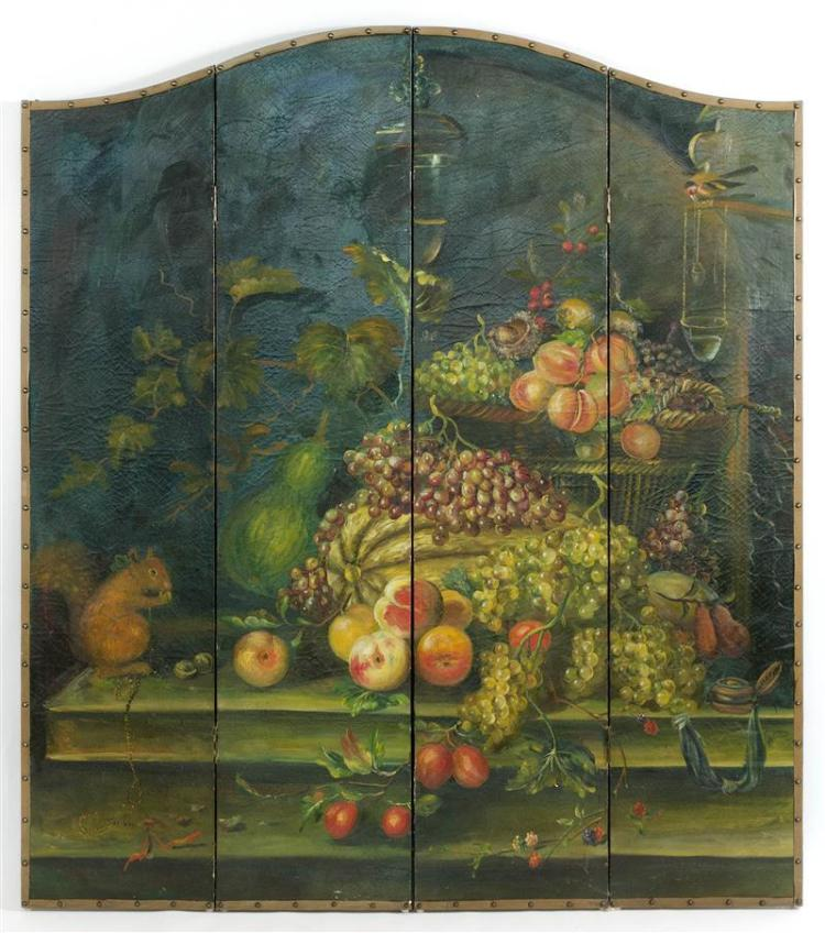FOUR-PANEL PAINTED SCREEN With curvate top depicting a squirrel and fruit. Height 72