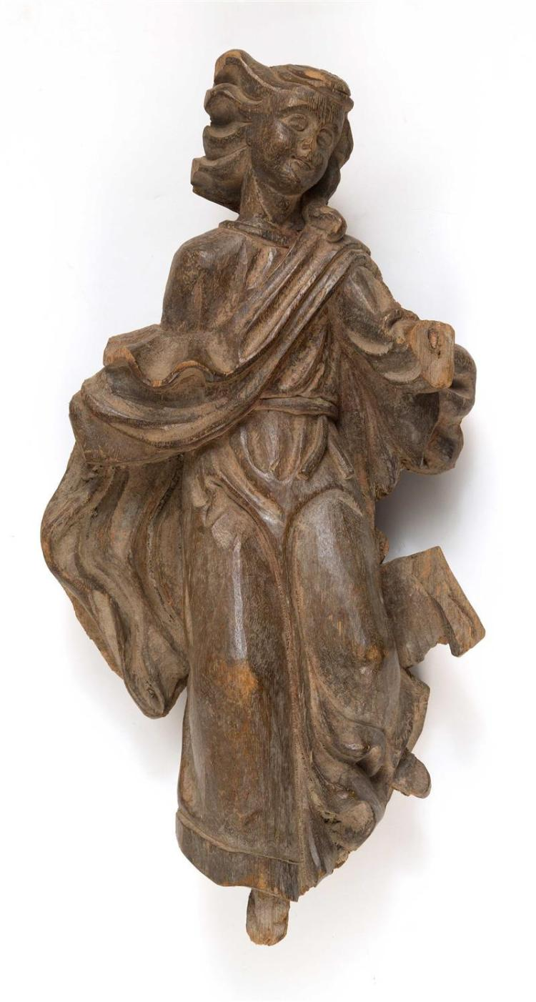 CARVED WOOD ANGEL With traces of gray and white paint. Height 18