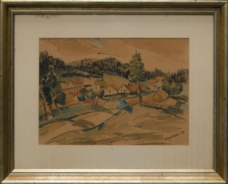 FRENCH SCHOOL, 20th Century, Houses in the countryside., Watercolor, 10
