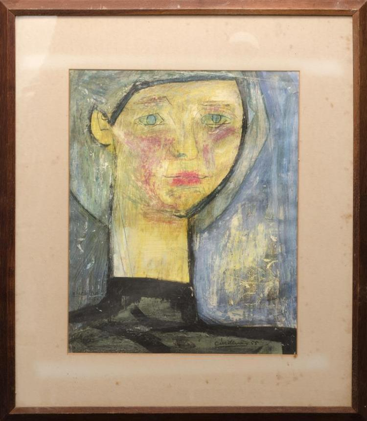 CONTINENTAL SCHOOL, Mid-20th Century, Female portrait., Mixed media, 15