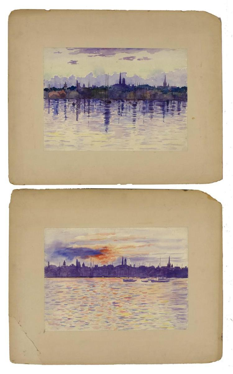TWO UNFRAMED WATERCOLORS Depicting cities viewed from the water. Unsigned. 10.5