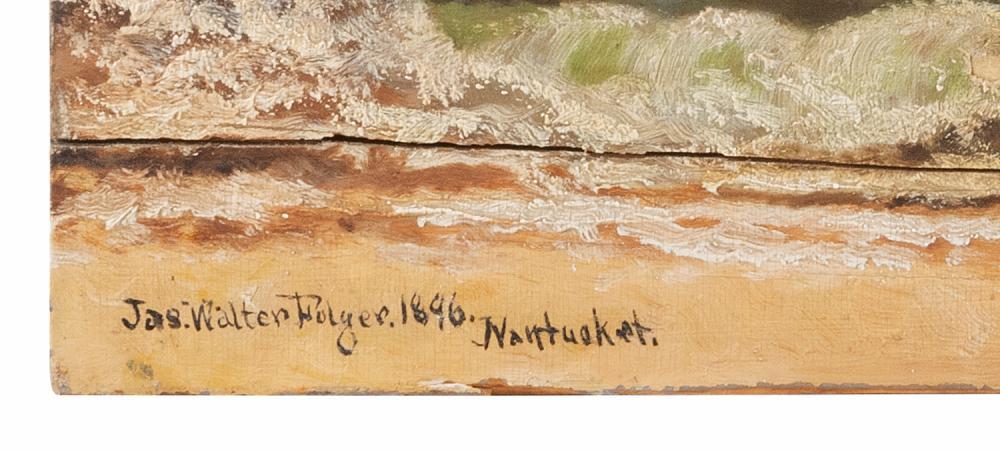 JAMES WALTER FOLGER, Nantucket, Massachusetts, 1851-1918, Red-breasted merganser drake in flight,, Oil on board, 15.5