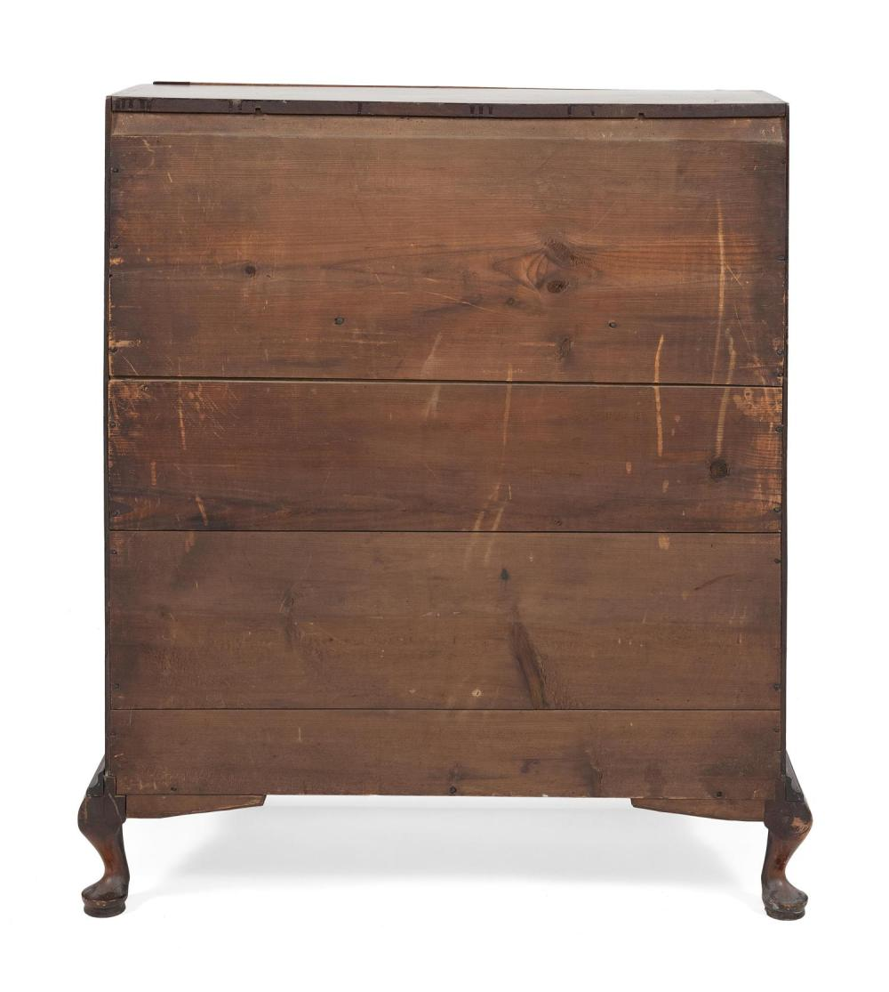 QUEEN ANNE SLANT-LID DESK In mahogany, with an old finish. Slant lid opens to reveal stacks of four drawers flanking three shelves a...