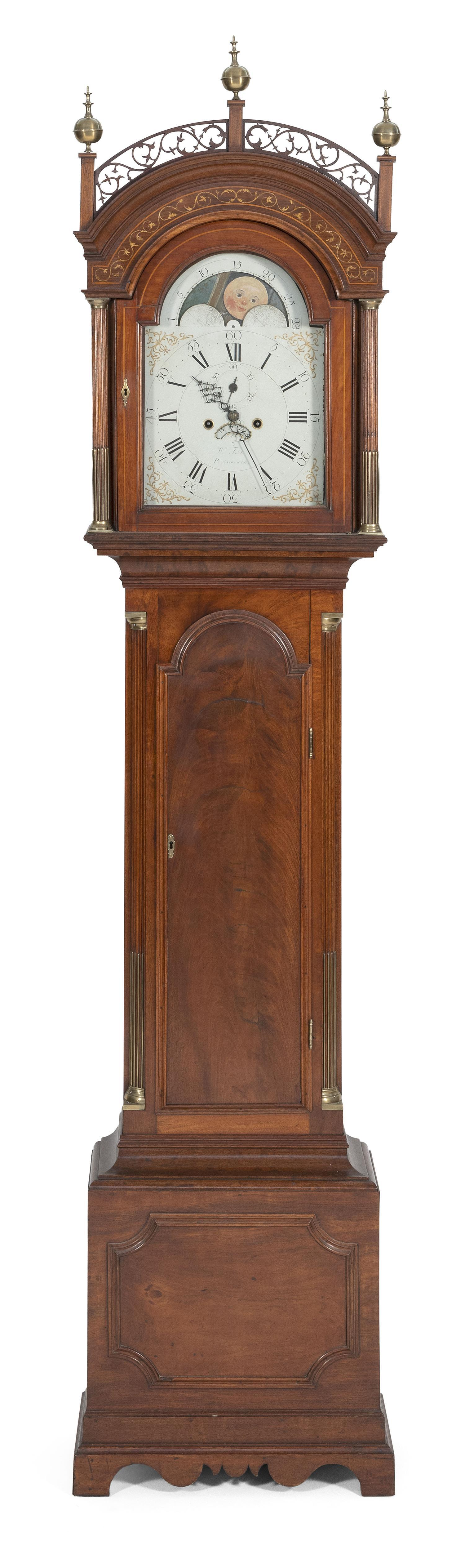 TALL-CASE CLOCK BY WILLIAM FITZ Magnificently constructed case in mahogany and mahogany veneer with eastern white pine secondary woo...
