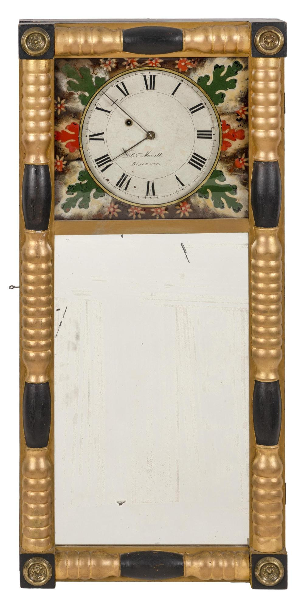 BENJAMIN MORRELL MIRROR CLOCK Gold and ebonized case with brass rosettes at corners. Upper reverse-painted panel with floral decorat...