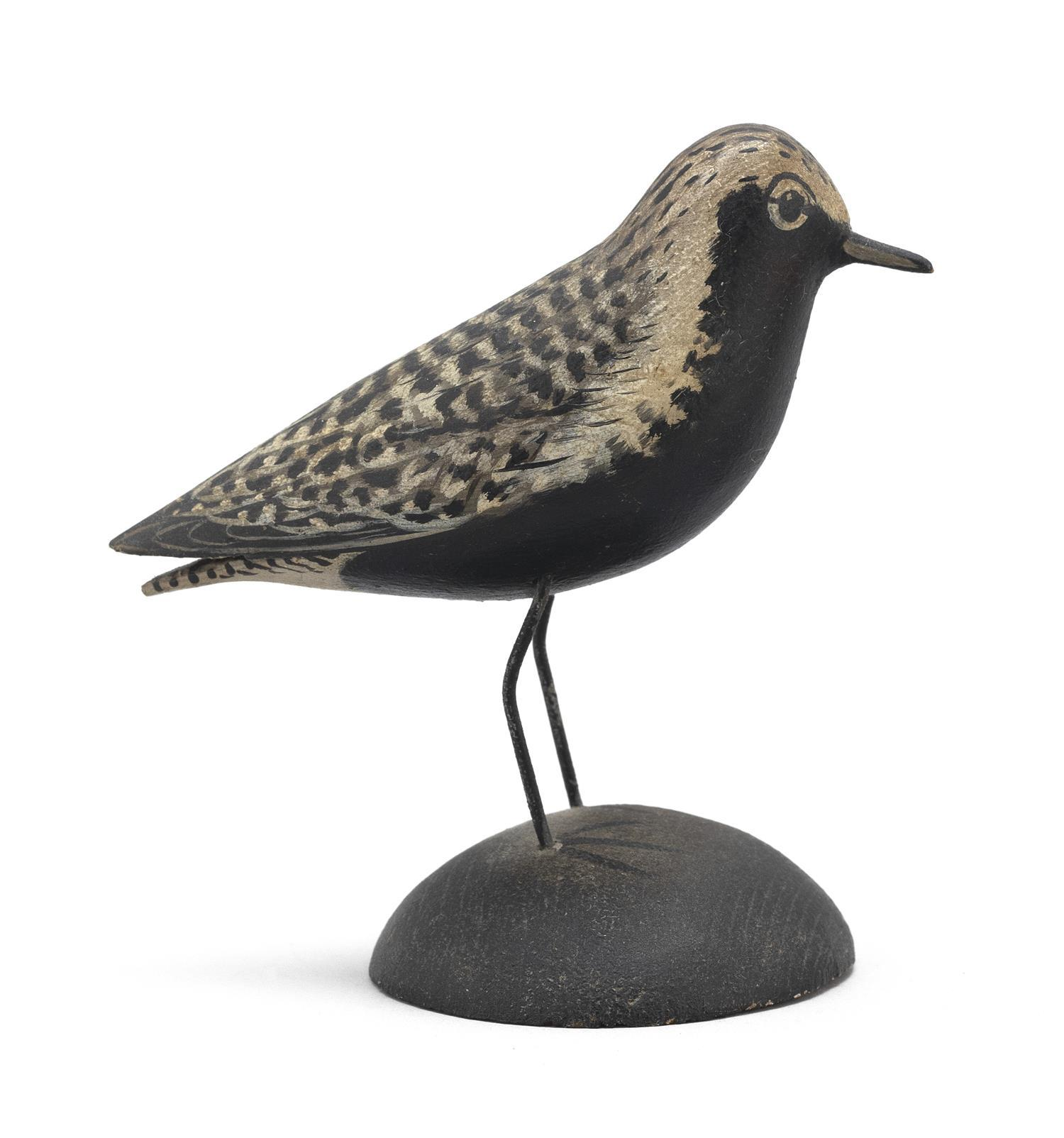 "A. ELMER CROWELL MINIATURE BLACK-BREASTED PLOVER Exceptional feathered paint pattern. Rectangular brand. Length 3.5"". From the Mr. &..."