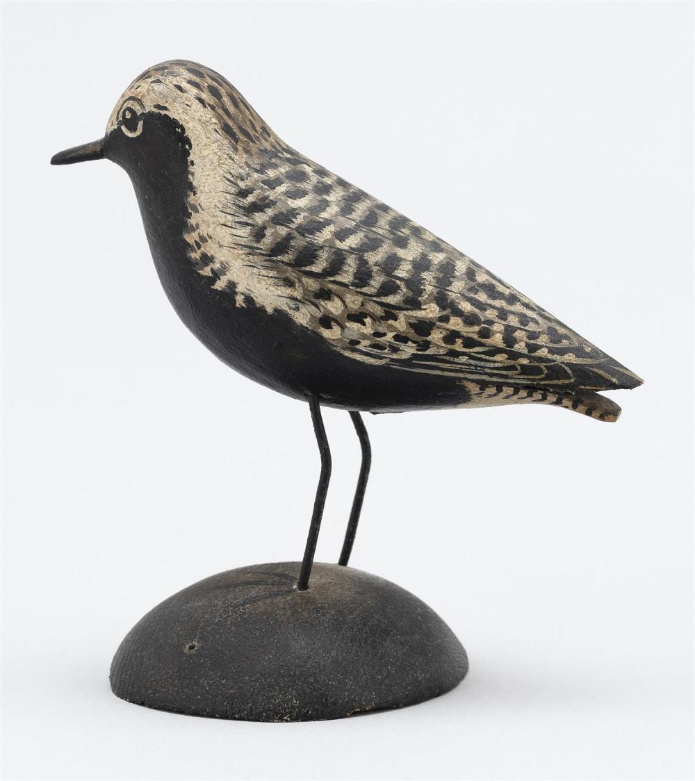 A. ELMER CROWELL MINIATURE BLACK-BREASTED PLOVER Exceptional feathered paint pattern. Rectangular brand. Length 3.5