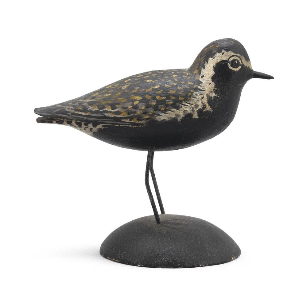 "A. ELMER CROWELL MINIATURE GOLDEN PLOVER Rectangular brand. Length 3.25"". From the Mr. & Mrs. Ken DeLong Collection of Bird Carvings."