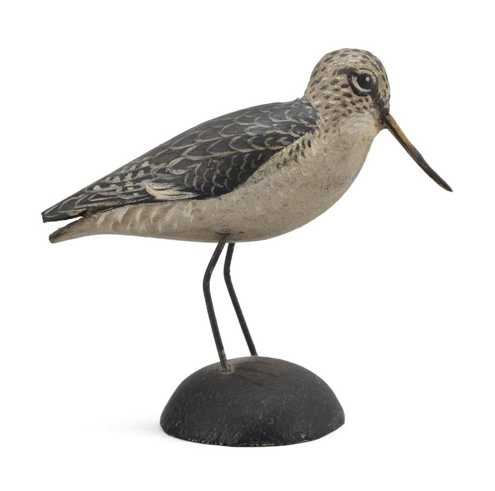 "A. ELMER CROWELL MINIATURE GODWIT Exceptional feathered paint pattern. Rectangular brand. Length 3.25"". From the Mr. & Mrs. Ken DeLo..."