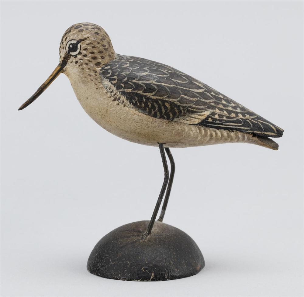 A. ELMER CROWELL MINIATURE GODWIT Exceptional feathered paint pattern. Rectangular brand. Length 3.25