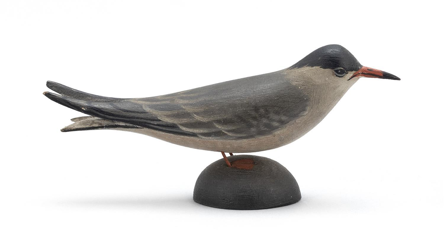"A. ELMER CROWELL MINIATURE COMMON TERN Unsigned. Length 4.25"". From the Mr. & Mrs. Ken DeLong Collection of Bird Carvings."