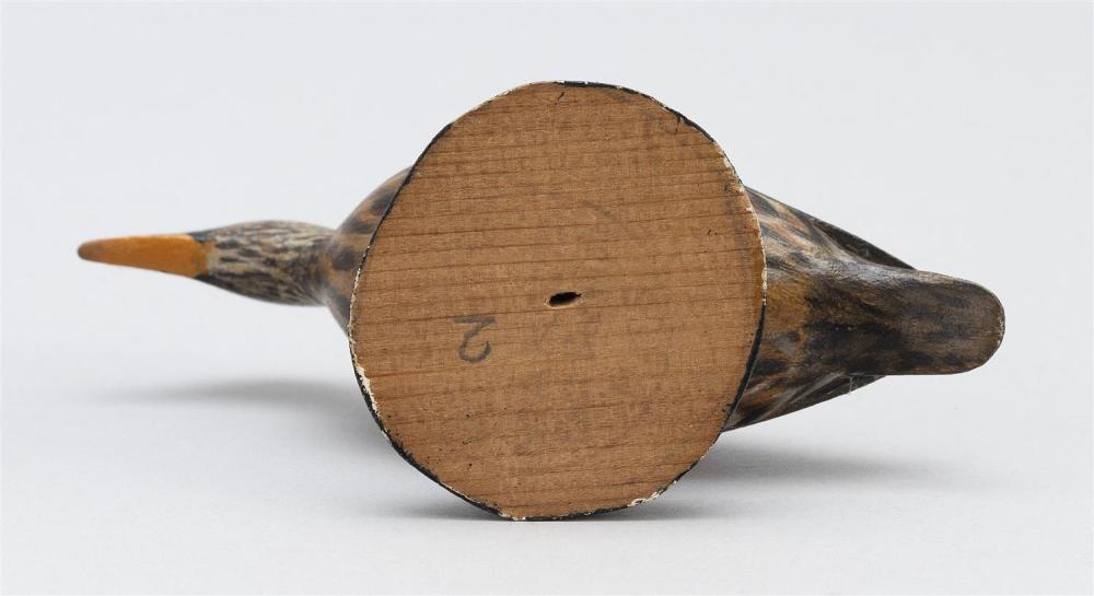A. ELMER CROWELL MINIATURE MALLARD HEN Rubber stamp mark. Length 4.75