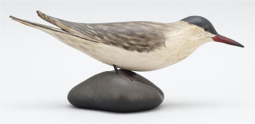 A. ELMER CROWELL LIFE-SIZE COMMON TERN Mounted on a sculpted wooden base. Oval brand. Height 5