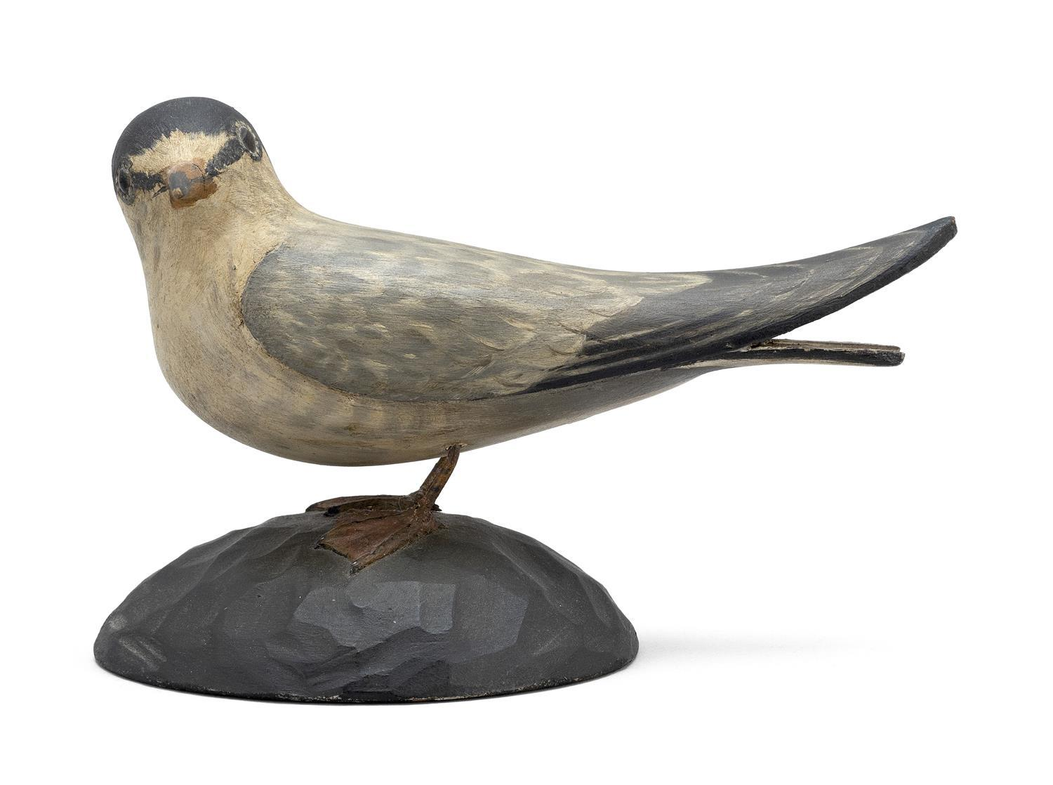 A. ELMER CROWELL LIFE-SIZE LEAST TERN Head turned 90 degress to the left. Mounted to a chipped-carved base. Two rectangular stamps....