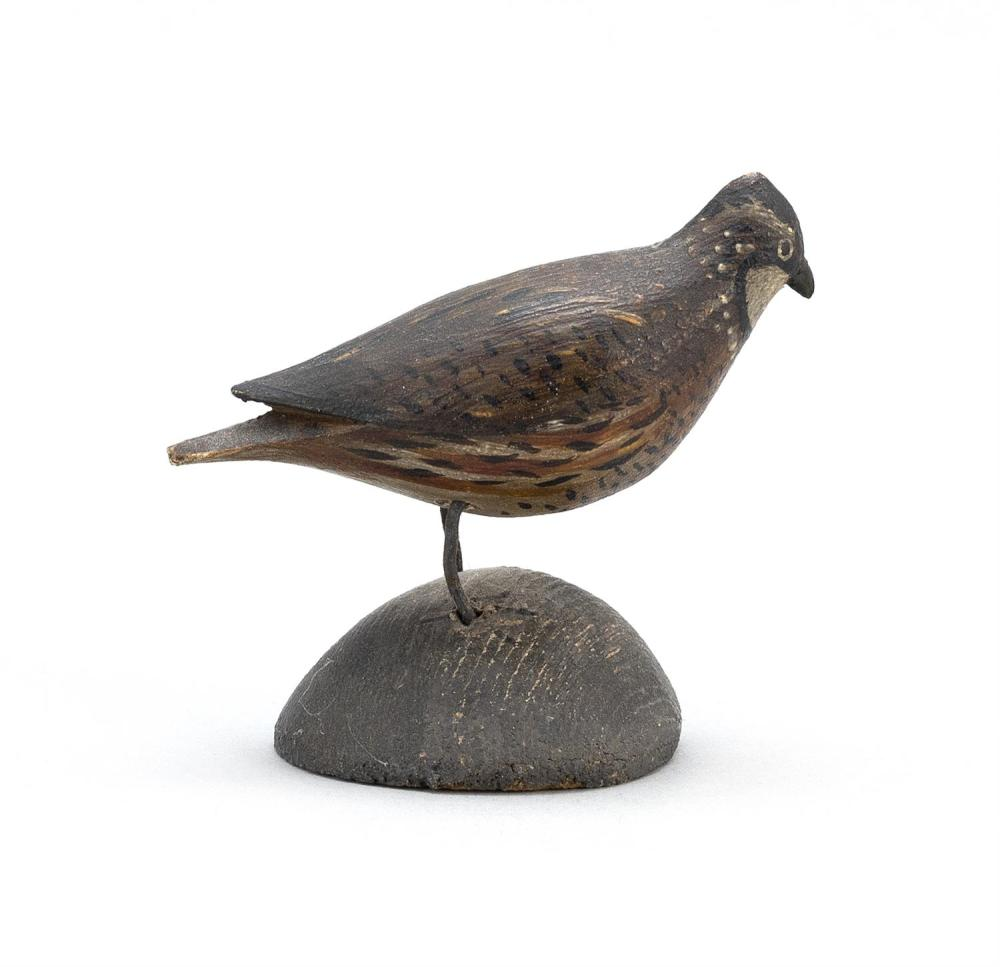 "A. ELMER CROWELL MINIATURE QUAIL Nice patina. Exceptional feathered paint pattern. Unmarked. Length 2"". From the Mr. & Mrs. Ken DeLo..."