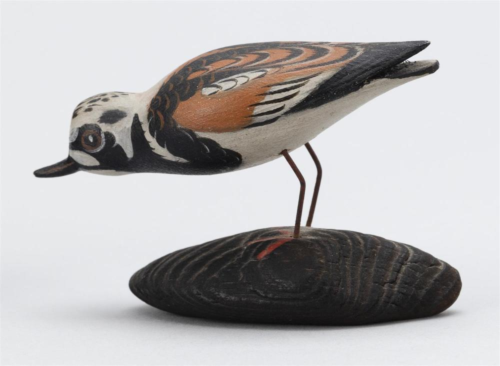 A. ELMER CROWELL MINIATURE RUDDY TURNSTONE In feeding position. Mounted to a driftwood base. Unsigned. Length 3