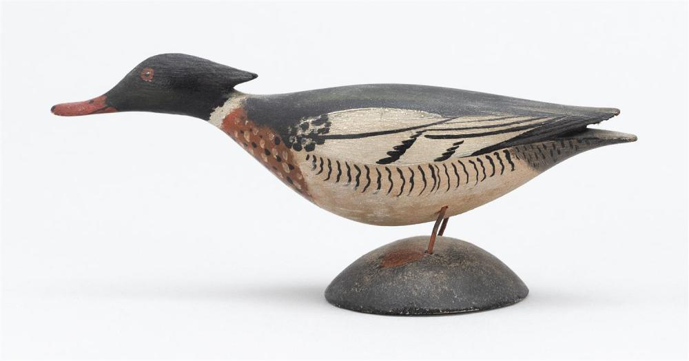 A. ELMER CROWELL MINIATURE RED-BREASTED MERGANSER DRAKE Rubber stamp mark. Length 5.25