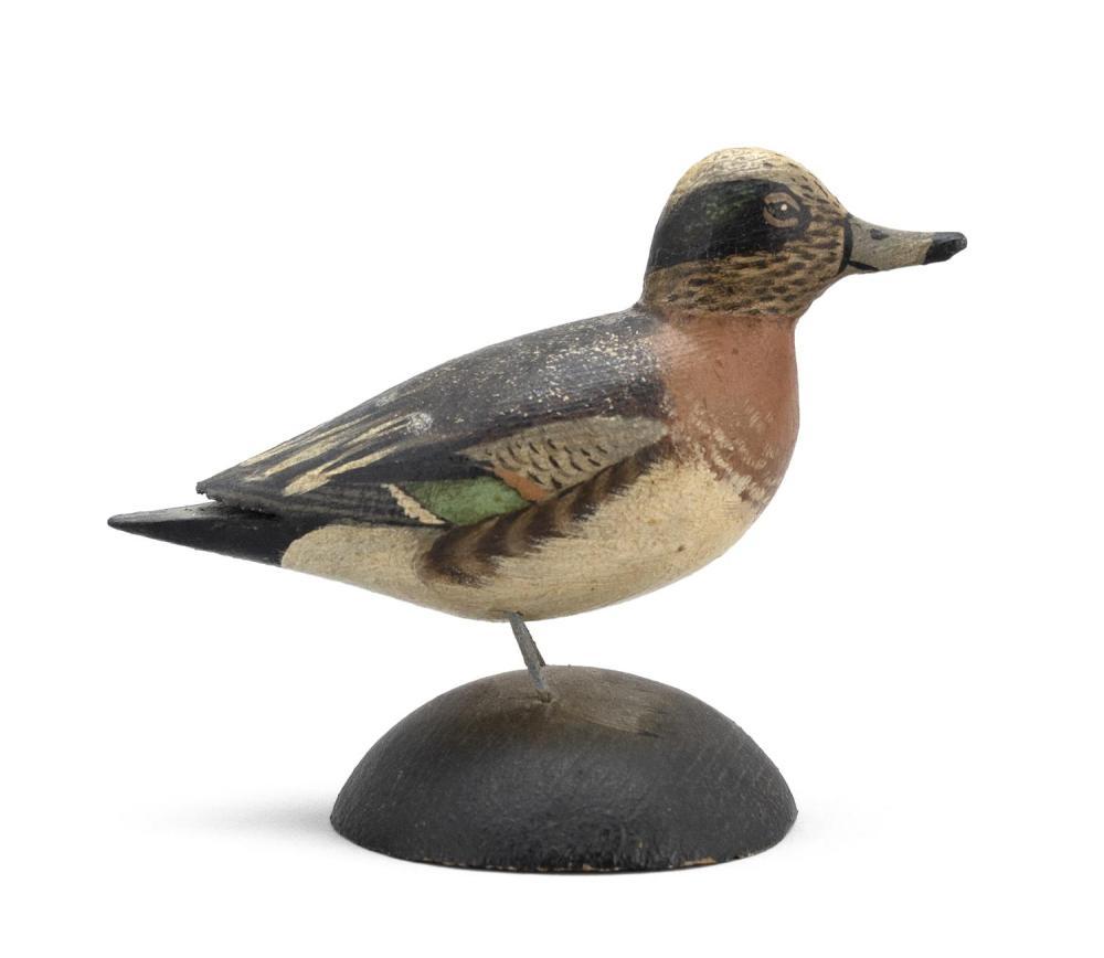 "A. ELMER CROWELL MINIATURE WIDGEON DRAKE Rectangular brand. Length 4"". From the Mr. & Mrs. Ken DeLong Collection of Bird Carvings."