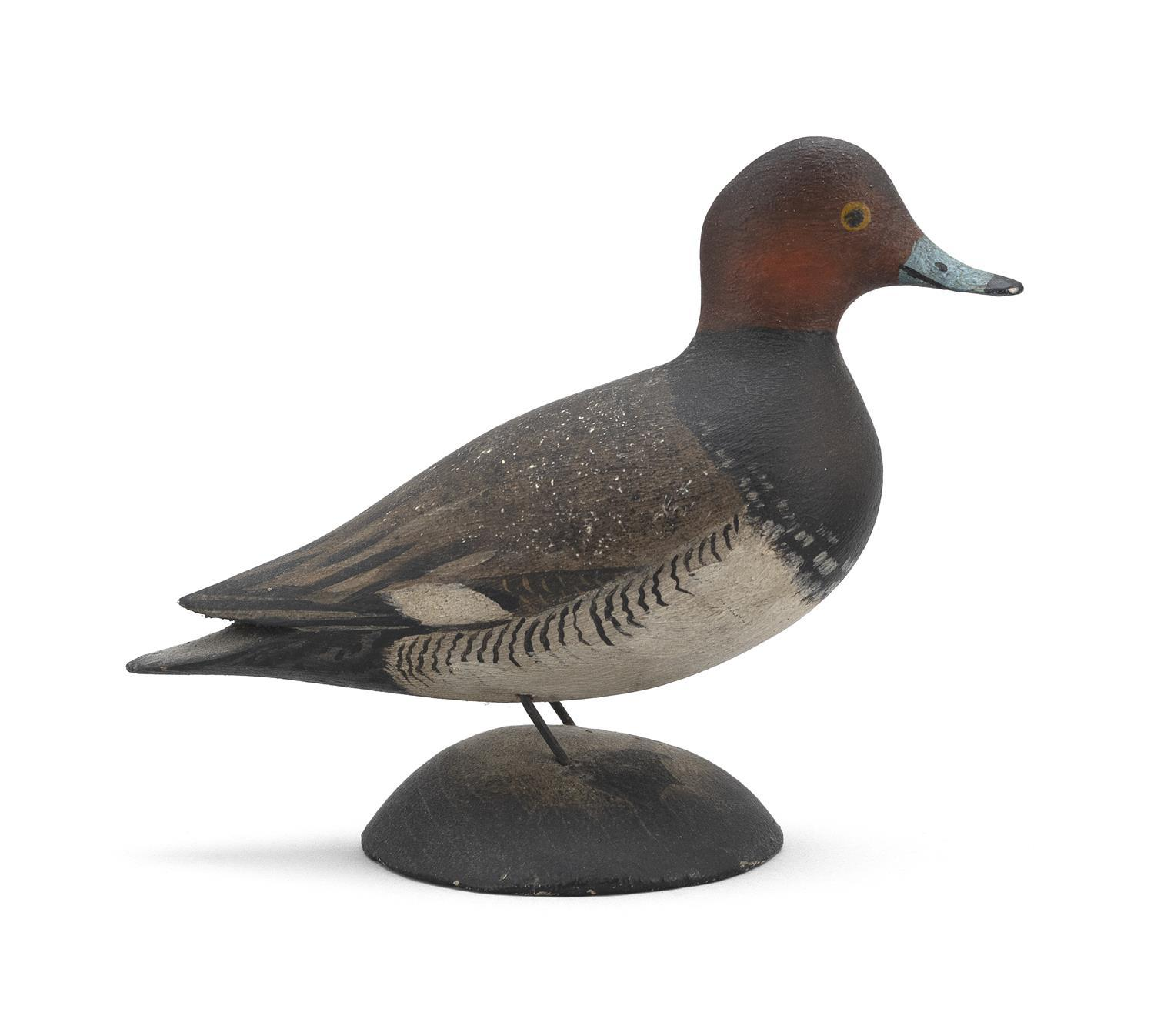 """A. ELMER CROWELL MINIATURE REDHEAD DRAKE Rubber stamp mark. Length 4"""". From the Mr. & Mrs. Ken DeLong Collection of Bird Carvings."""