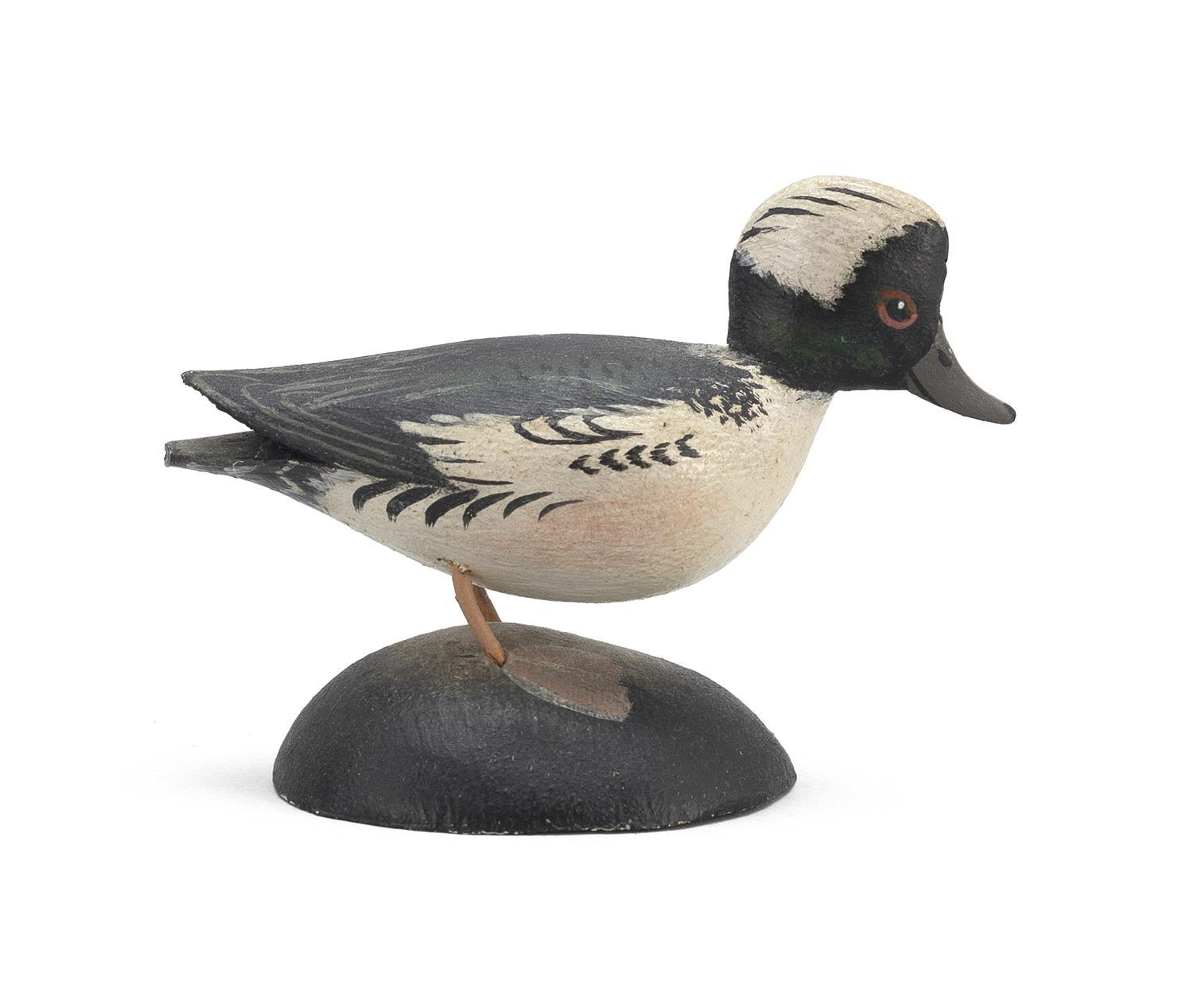 "A. ELMER CROWELL MINIATURE BUFFLEHEAD DRAKE Rubber stamp mark. Length 2.75"". From the Mr. & Mrs. Ken DeLong Collection of Bird Carvi..."