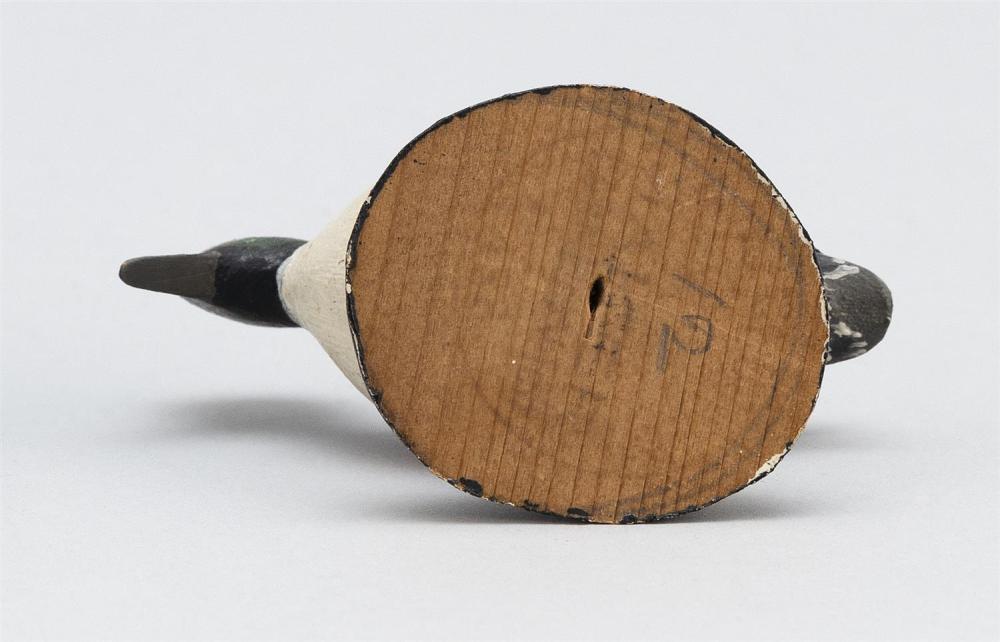 A. ELMER CROWELL MINIATURE BUFFLEHEAD DRAKE Rubber stamp mark. Length 2.75