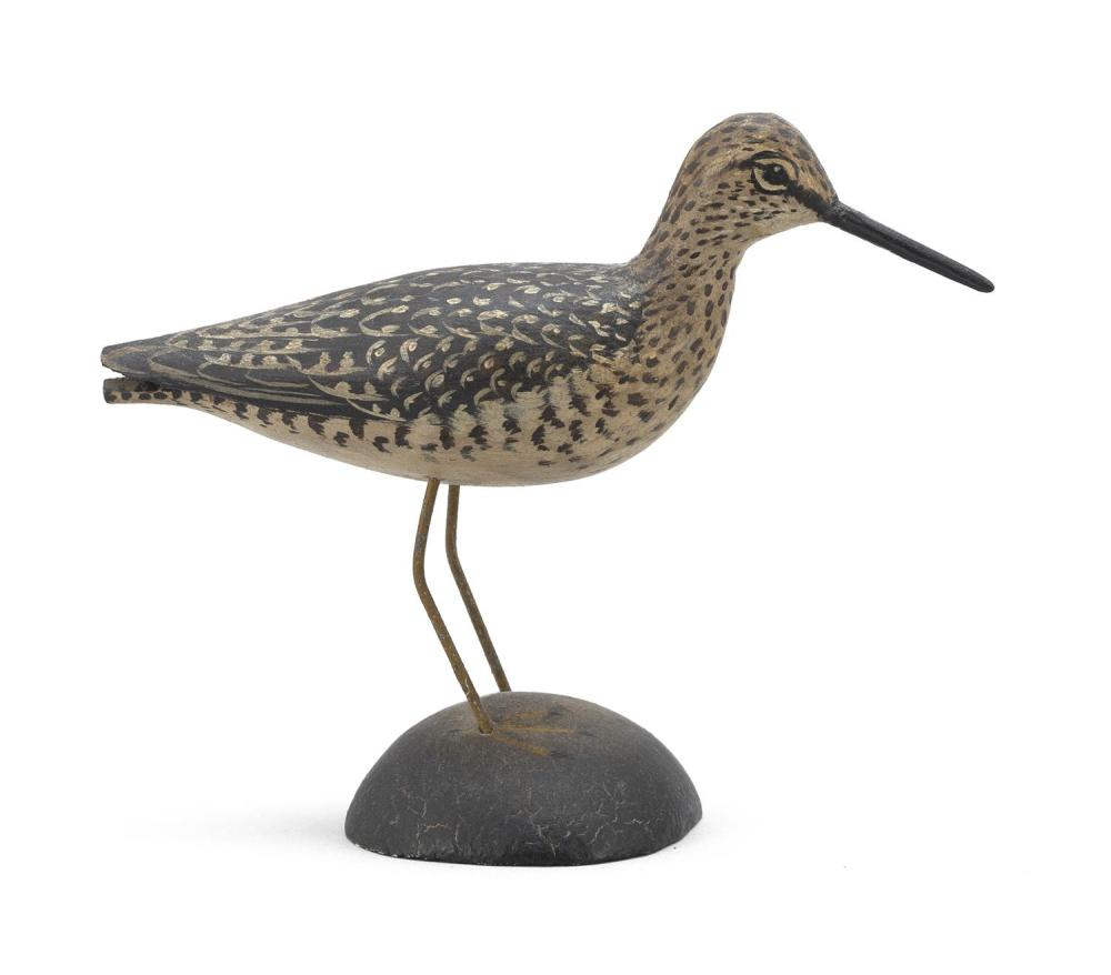 "A. ELMER CROWELL MINIATURE YELLOWLEGS Rectangular stamp. Length 4"". From the Mr. & Mrs. Ken DeLong Collection of Bird Carvings."