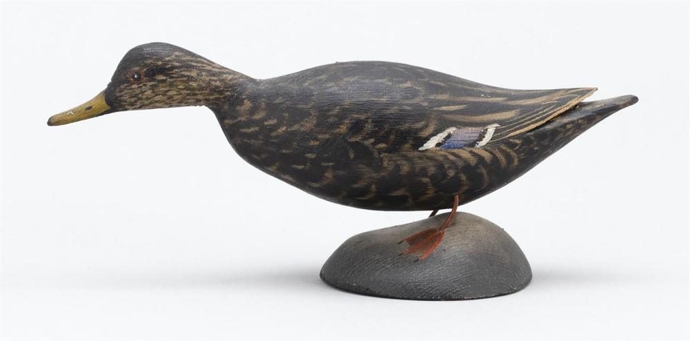 A. ELMER CROWELL MINIATURE BLACK DUCK Paper label with