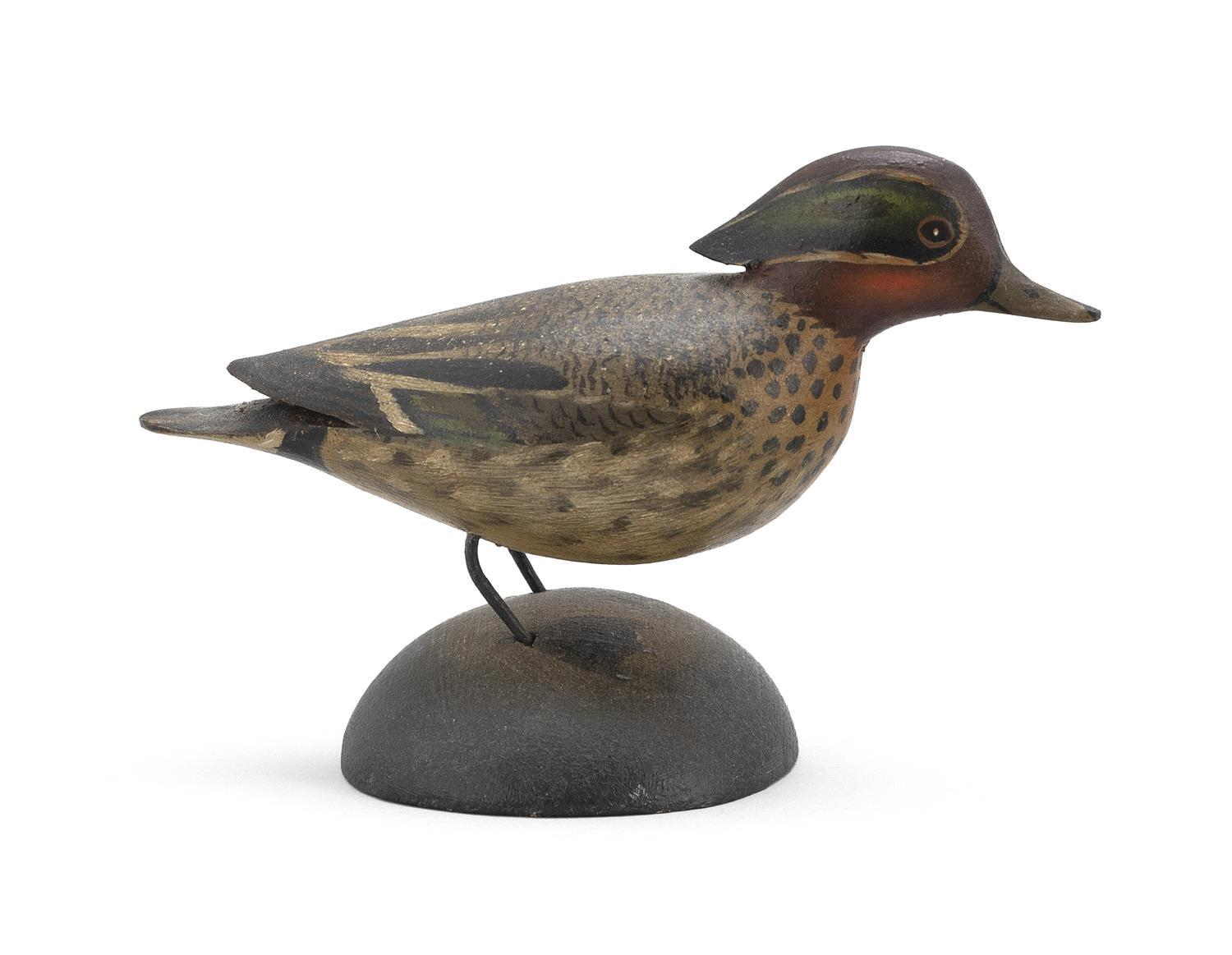 "A. ELMER CROWELL MINIATURE GREEN-WINGED TEAL DRAKE Unsigned. Length 3.75"". From the Mr. & Mrs. Ken DeLong Collection of Bird Carvings."