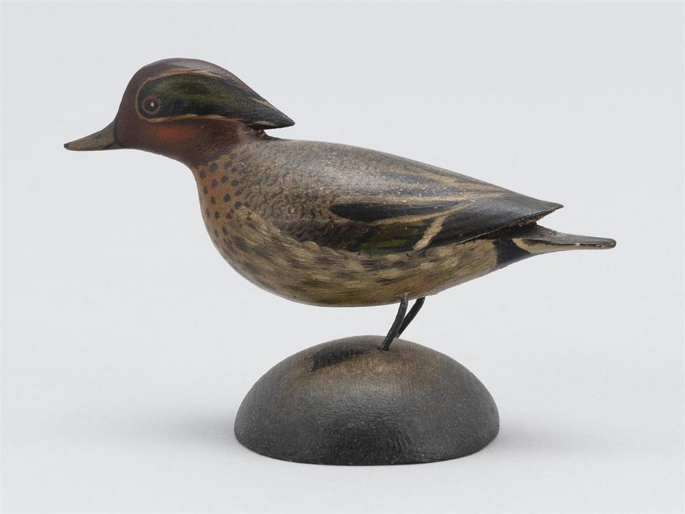 A. ELMER CROWELL MINIATURE GREEN-WINGED TEAL DRAKE Unsigned. Length 3.75