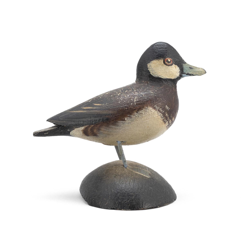 """A. ELMER CROWELL MINIATURE RUDDY DUCK DRAKE Rectangular brand. Length 2.75"""". From the Mr. & Mrs. Ken DeLong Collection of Bird Carvi..."""