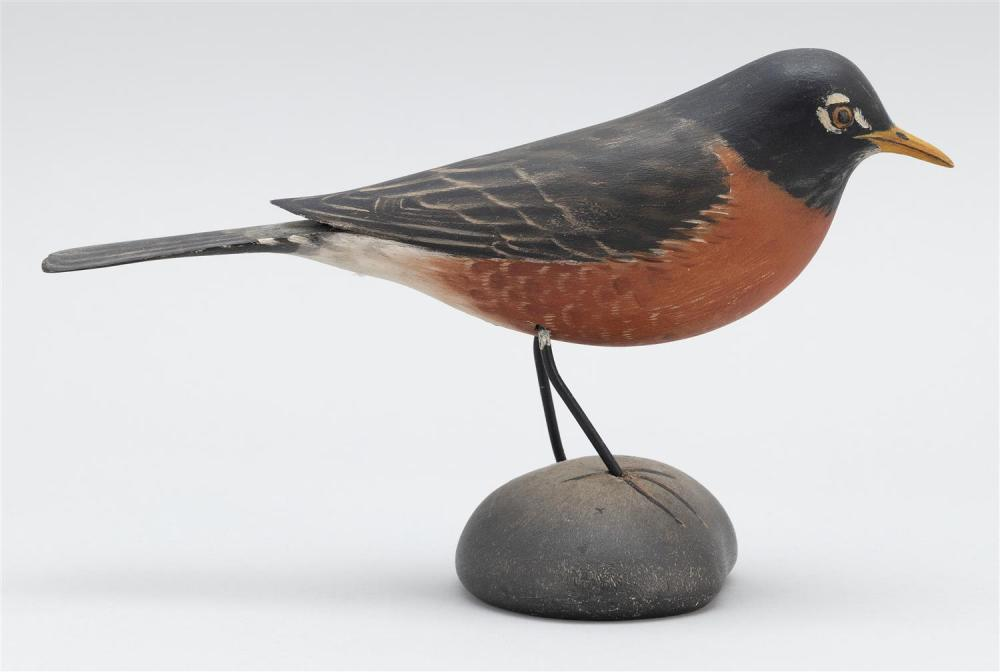 A. ELMER CROWELL LIFE-SIZE ROBIN Unsigned. Height 5.75