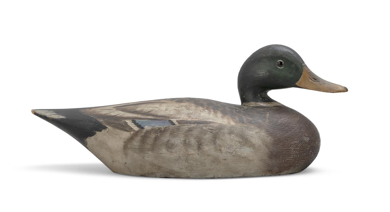 """A. ELMER CROWELL MALLARD DRAKE DECOY Glass eyes. Rectangular brand. Length 15.5"""". From the Mr. & Mrs. Ken DeLong Collection of Bird..."""